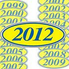 Blue And Yellow Oval Year Stickers (multiple item shipping discount) EZ198B