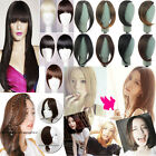 UK New Clip On Clip In Front Hair Bangs Fringe Hair Extension Dark Black Brown