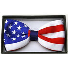 New Tuxedo UK Flag Colors Adjustable Bow Tie In Gift Box Union Jack Flag Bowtie
