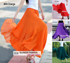 "Full Circle Chiffon Skirt Long Skirt Maxi Skirt 43"" / 110cm Length XS ~ 3XL"