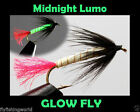 MIDNIGHT LUMO Glow Fly TROUT FLIES for fly fishing rod reel & line
