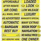 15 Inch Black & Yellow Sign Stickers (multiple item shipping discount)
