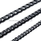 """316L Stainless Steel Titanium 5MM Black Heavy Solid Necklace Chain 24"""" 26"""" 28"""""""