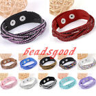1x Fashion Womens Crystal Rhinestone Wristband Cuff Leather Wrap Bangle Bracelet
