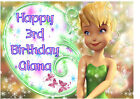 EDIBLE DISNEY TINKERBELL FLOWER HAPPY BIRTHDAY NAME CAKE CUPCAKE ICING TOPPERS