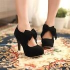 Womens Sweet Candy Faux Suede Bow Tie High Heel Platform Pumps Court Ankle Shoes