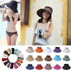 Colorful Women Summer Topless Straw Hat Cap Bowknot Elastic Wide Brim Floppy