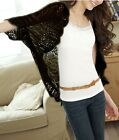 Womens Crochet Knit Shawl Batwing sleeve Hollow Out Shrug Cardigan Top sweater