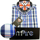 Warrior Retro Short Sleeve Button Down Shirt NELSON Mod Skinhead Blue White Red
