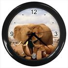 Elephant Family Stroll Design  - Wall Clock (Choose from 7 Colors) -HH4379