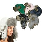 Leather Exterior Outdoor Bombardier Hat w/ Faux Fur Lined Ear Flaps- in 5 Colors