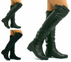 WOMENS LADIES HIGH OVER THE KNEE ELASTIC STRETCH PULL ON LOW HEEL BOOTS SIZE Y81