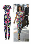 NEW WOMENS LADIES CELEB STYLE FLOWER PRINT POCKET FLORAL JUMPSUIT  SIZE 8-14