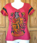 Harry Potter Gryffindor House Crest Distressed V Neck Jersey T Shirt Top Tee