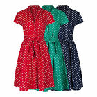 RETRO VINTAGE 40's 50's ROCKABILLY POLKA DOT FLARED SHIRT COTTON DRESS NEW 8-28