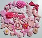 30 MIXED PINK RESIN FLAT BACK CABOCHONS-Hearts, Bows, Flowers  -Kawaii-Decoden