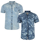 New Soul Star Men's Short Sleeve Cotton Shirt Washed Pattern Faded Look Blue