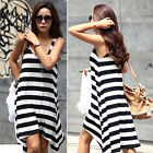 New Sundress Lady Casual Soft Cotton Stripe Style Silm Tank Dress Beach Cover Up