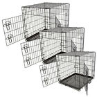 Pet Puppy Carrier Dog Cage Home Crate Kennel Cat Metal Folding Portable Tray