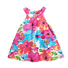 New Kids Girls Baby Retro Summer Flower Vest Skirt Plain Dress Age 0.5-4 Years