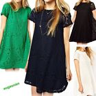 Women Casual Hollow Lace Crochet Short Sleeve Floral Party Shirt Mini Dress Tops