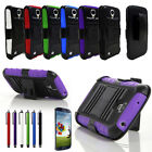 PEN + HEAVY DUTY CASE BELT CLIP HOLSTER STAND FR Samsung Galaxy S4 IV i9500