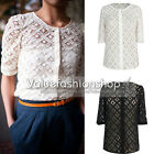 Womens Vintage Floral Crochet Lace See Through Button Up T-shirt Blouse Tops 788