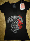 Sons of Anarchy SOA Tv Show Reaper Roses Braided Neckline Junior Girls T-Shirt