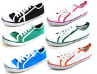 LADIES *SALE* FLAT CANVAS LACE UP CASUAL SUMMER TRAINERS/ PUMPS/ SHOES F8488