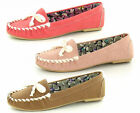 Ladies Spot On Flat Slip On Bow Trim Moccasin Loafer Style Shoes F8968
