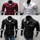 New Mens Slim Fit Casual Formal Business Shirt Long Sleeves Dress Shirts 3Color