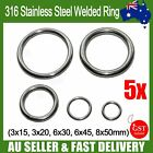 5x Welded Ring 316 Stainless Steel O Round Rings Marine Shade Sail Boat 5 Sizes