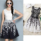 Womens Sexy Party Cocktail Bodycon Mini Dress Embroidered Lace Salix leaf Print