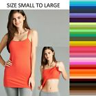 TANK TOP CAMI W/ BRA Active Basic Long Layering Spaghetti Strap WHIMSY S/M/L