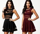 Sexy Cut Out Bandage Mesh Panel Celeb Towie Style Skater Dress Size 8, 10, 12,14