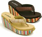 LADIES WOMENS GIRLS FLAT COMFORT TOE POST WEDGE SUMMER SANDALS SHOES SIZE
