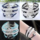 Antique Silver Infinty Love Anchor Friendship Leather Cute Charms Bracelet Gift