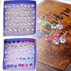 Wholesale 20 Pairs Rhinestone Crystal Plastic Round Earrings Studs Pin Jewelry