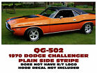 QG-502 1970 DODGE CHALLENGER - PLAIN MID BODY SIDE STRIPE KIT - DECAL