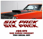 QG-573 1969 DODGE CORONET - SUPER BEE 'SIX PACK' DECAL SET - GLASS HOOD SCOOP
