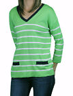AUGUST SILK Petite's Green Combo 3/4 Sleeve Button Back Sweater 0116075 $58 NEW