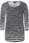 Yoursclothing Womens Plus Size Zebra Print Dipped Hem 3/4 Sleeve Top