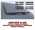 QG-609+ 1973-74 PLYMOUTH ROAD RUNNER - HOOD BULGE STRIPE & NUMERAL