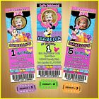 12 Printed Custom photo MINNIE MOUSE Birthday Ticket Invitations card