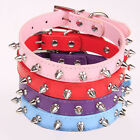 Stock 4Color Spiked Faux Leather Dog Collar Stud Studded Spike Neck Leash S/M/L
