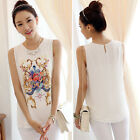 NEW ARRIVE Bodycon Womens Top Chiffon Sleeveless Casual Tops Shirt Blouse 2XS-XL