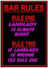 BAR RULES - LANDLADY is Always Right METAL SIGN PLAQUE fun for pub home beer fan