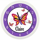 BUTTERFLY WALL CLOCK PERSONALIZED PURPLE PINK GIRLS BEDROOM GIFT DECOR