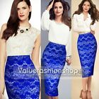 Womens Vintage Elegant Crochet Lace Bodycon Party Cocktail Pencil Midi Skirt 843