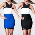 Cobalt Blue Leatherette Club Woman Cocktail Party Spliced Bodycon Dress EDK